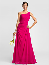 Lanting Dress - Fuchsia Plus Sizes / Petite A-line One Shoulder Floor-length Chiffon