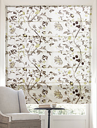 Chinese Floral Paintings Jacquard Roman Shade