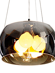 Italian Style Modern Quaint 3 Light Pendant With Black Transparent Shade