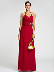 Dress - Plus Size / Petite Sheath/Column Halter Floor-length Chiffon