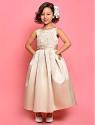 LAN TING BRIDE A-line Princess Ankle-length Flower Girl Dress - Satin Jewel with Appliques Draping Ruching