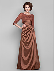 Dress - Brown Sheath/Column Bateau Floor-length Lace/Charmeuse