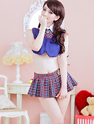 Sexy Girl Blue Polyester Ultrashort School Uniform