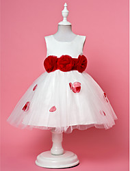 A-line / Ball Gown / Princess Ankle-length Flower Girl Dress - Chiffon / Lace / Satin / Tulle Sleeveless Straps withFlower(s) / Sash /