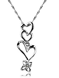 Elegant S925 Sterling Silver Heart-to-Heart Style Zircon Pendant Necklace