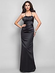 Mermaid / Trumpet Spaghetti Straps Floor Length Satin Formal Evening Military Ball Dress with Lace Side Draping by TS Couture®