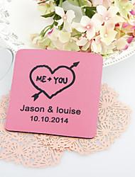 Corazón y flecha de boda personalizados Posavasos-Juego de 4 (más colores)