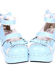 Lindo Sweety Blue Sky PU cuña de 8 cm dulces Zapatos Lolita con el arco