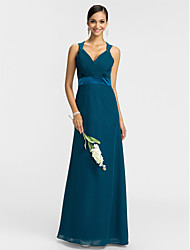 Dress Sheath / Column V-neck Floor-length Chiffon with Criss Cross