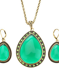 Z&X®  The Wind Restoring Ancient Ways Jelly Color Teardrop-Shaped Diamond Earrings Necklace Suits