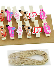 Musical Instruments Pattern Wooden Clips(12 PCS)