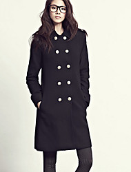 Women's Trench Coat , Casual Twill/Wool Blends