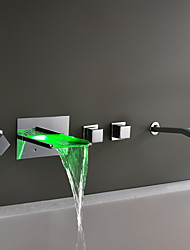 Bathtub Faucet - Contemporary - LED / Waterfall - Brass (Chrome)