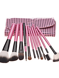 11PCS Pink Handle Cosmetic Brush Set With Black&Pink Check Leather Pouch