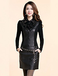 Women's Dresses , Acrylic/Cotton/PU Casual Long Sleeve ICON LADY