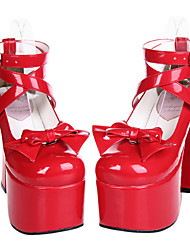 Sapatos Doce Cadarço Salto Alto Sapatos Laço 12.5 CM Vermelho Para Feminino Couro Envernizado