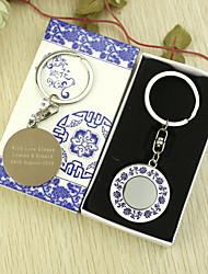 Personalisierte Runde Schlüsselanhänger Favor in Geschenk-Box (Satz von 6)