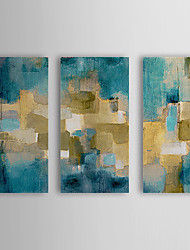 peinture à l'huile abstraite ciel bleu avec étiré ensemble de 3 toiles peintes à la main 1308-ab0703 cadre