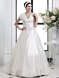 Lanting A-line/Princess Plus Sizes Wedding Dress - Ivory Floor-length V-neck Lace/Organza