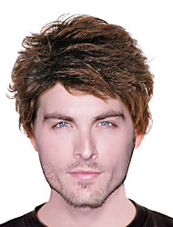 Capless High Quality Synthetic Brown Leisurely Men's Wigs