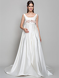 A-line Maternity Wedding Dress - Ivory Court Train Square Satin