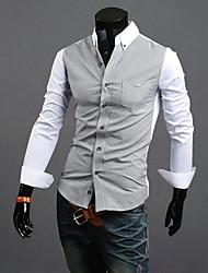 Белый Повседневный RR ПОКУПАТЬ Человека Color Matching футболка с длинным рукавом