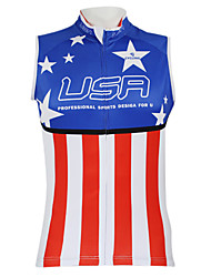 Kooplus2013 Championship Jersey America 100% Polyester Wicking Fibers Sleeveless Cycling Vest with Reflective Tape