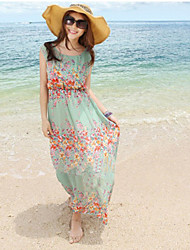 Women's Floral Green Dress , Beach/Print/Maxi Round Neck Sleeveless