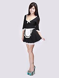 preto sexy empregada atrevida fantasia mini vestido adulto do traje de Halloween