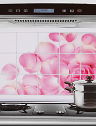 75x45cm Pink Rose Pattern Oil-Proof Water-Proof Hot-Proof Kitchen Wall Sticker