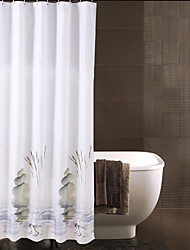 Chinese Monochromes Waterproof Thick Polyester Shower Curtain