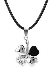 Feminino Colares com Pendentes Trevo-de-quatro-folhas Aço Inoxidável Strass Aço Titânio imitação de diamantePedras dos signos Jóias de
