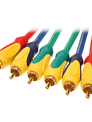 JSJ® 1.8M 5.904FT 3xRCA Male to Male Digital Cable Max-Color for DVD TV