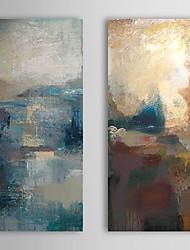 Peint à la main Peinture à l'huile abstraite avec cadre étiré Lot de 2 1308-AB0748