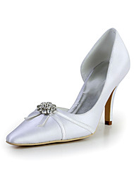 Bridal Satin Stiletto Pointy Toe Pumps with Rhinestone Wedding/Special Occasion Shoes(More Colors)