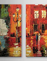 Dipinti a mano olio pittura di paesaggio con telaio allungato Set di 2 1308-LS0587