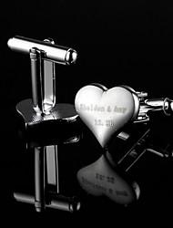 Gift Groomsman Personalized Heart Shaped Silver Cufflinks