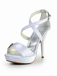 Bridal Satin Stiletto Sandals with Rhinestone and Buckle Wedding/Special Occasion Shoes(More Colors)
