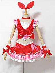 Inspiriert von PrettyCure Cure Melody Anime Cosplay Kostüme Cosplay Kostüme / Kleider Patchwork Rot ÄrmellosTop / Rock / Armbänder /