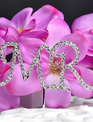 Cake Topper Non-personalized Monogram Wedding Rhinestone Silver OPP