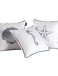 Conjunto de 3 Sea algodão bordado fronha decorativa Mundo