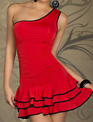 Club Girl One Shoulder Wrinkle Red/Black Lycra Party Dress Women's Costume