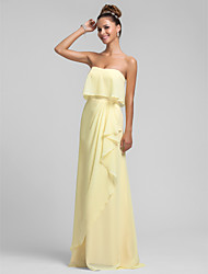 Sheath / Column Strapless Floor Length Chiffon Bridesmaid Dress with Ruffles Cascading Ruffles by LAN TING BRIDE®