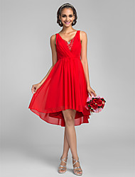 Asymmetrical Chiffon Bridesmaid Dress A-line V-neck Plus Size / Petite with Crystal Detailing / Sequins / Criss Cross