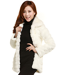 Long Sleeve Turn Down Collar Faux Fur Coat