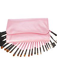 23PCS rose PU cuir rose Paquet Pole Maquillage Brush Set