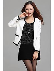 Zhubi Frauen Weiß PU Rivet Kleine Suits