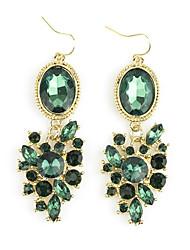 Moda Verde Flor Brincos de Gemstone
