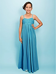 Sheath / Column Spaghetti Straps Floor Length Chiffon Junior Bridesmaid Dress with Draping Side Draping Ruching by LAN TING BRIDE®