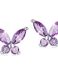 Элегантный стерлингового серебра с серьгами Аметист Женщины бабочки